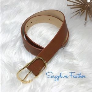 Accessories - 🆕 FAUX LEATHER BROWN BELT W/GOLD BUCKLE